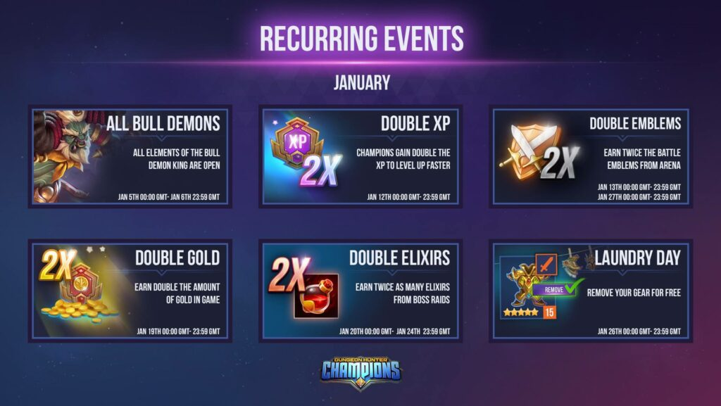 eventos recurrentes dungeon hunter champions event