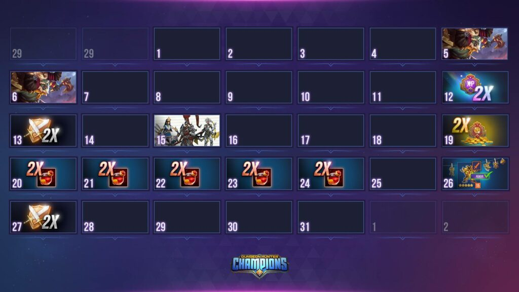 dungeon hunter champions calendar enero