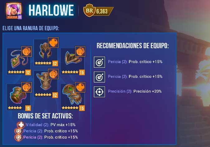 Harlowe Pirata de Oscuridad equipamiento
